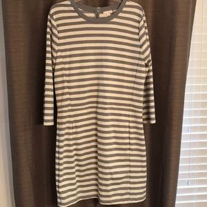 NWT GAP Gray and Cream Striped Dress